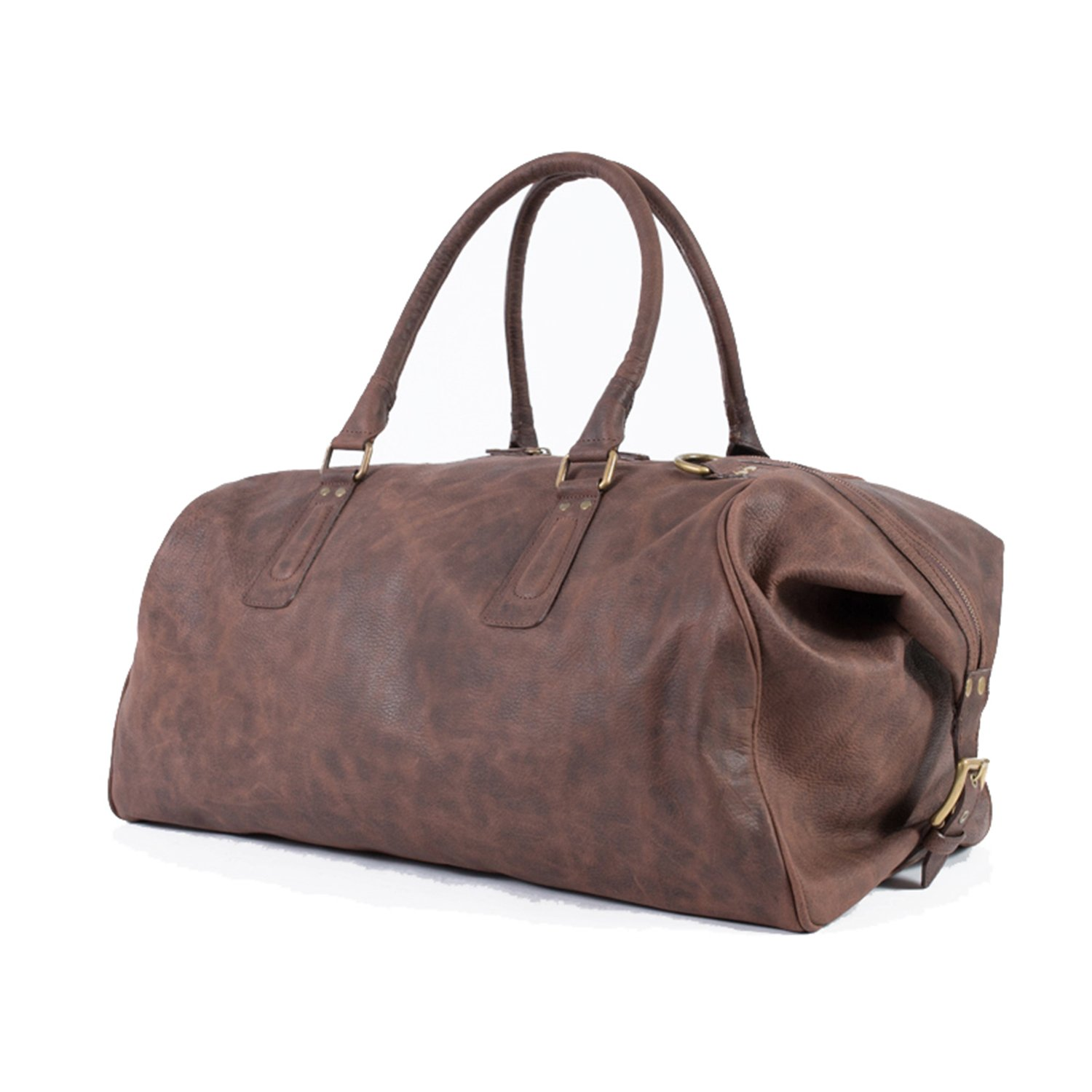 Pampa Vintage  Chocolate Brown Handmade Leather Duffle Bag   ROQUE c0d90e0839