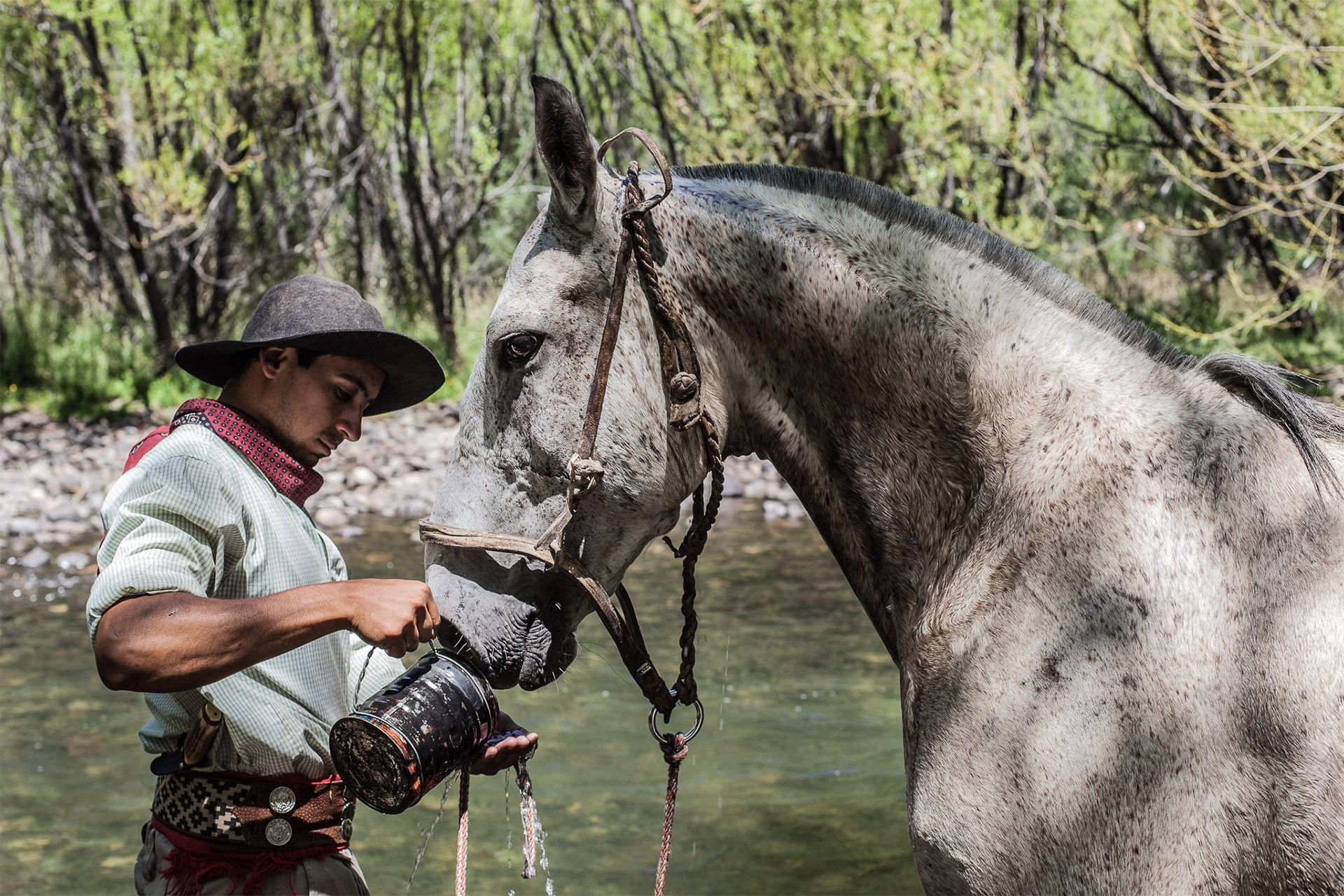 roque-bags_-travellog_gaucho-giving-water-to-horse-patagonia
