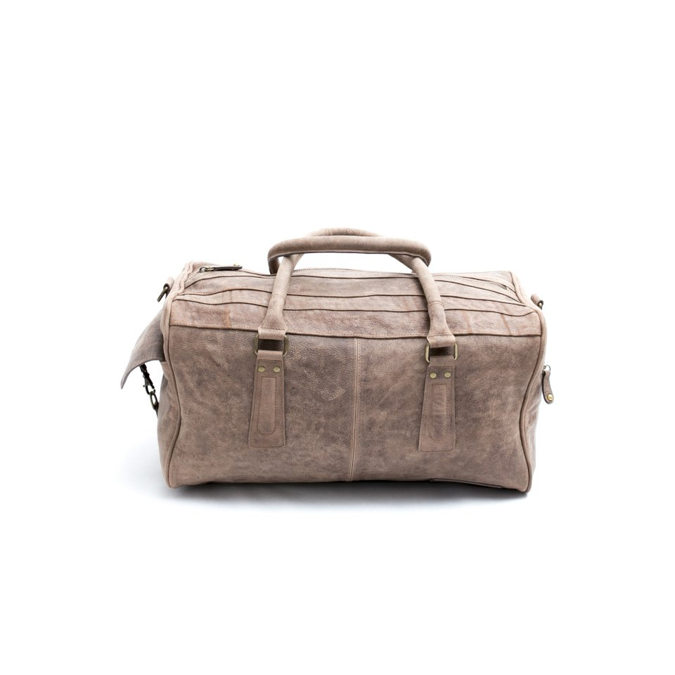 palermo vintage ecru leather small duffle bag